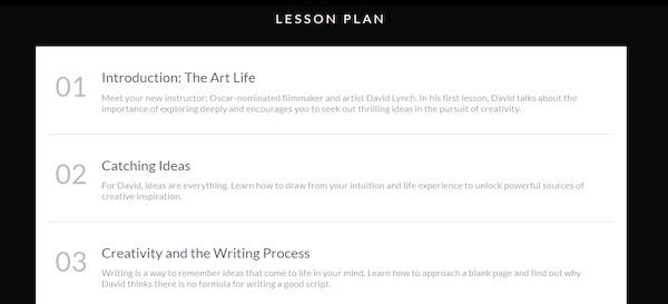 David Lynch's MasterClass lesson plan