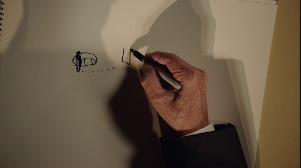 David Lynch drawing the set of Lost Highway
