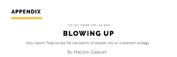 Appendix item from Gladwell's MasterClass