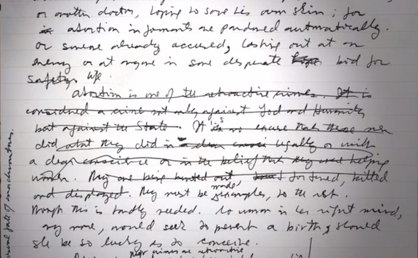 Excerpt from Margaret Atwood's draft