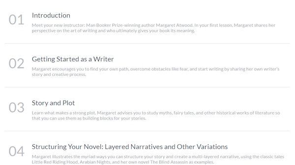 Margaret Atwood MasterClass lesson plan