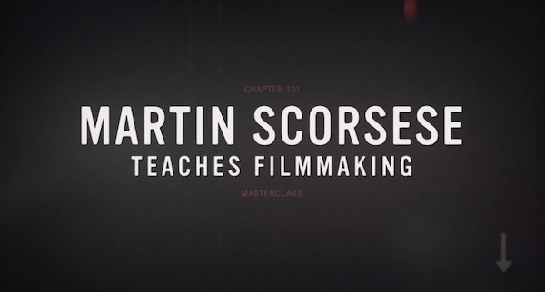 Martin Scorsese teaches filmmaking title slide