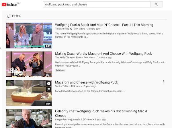Wolfgang Puck's YouTube content