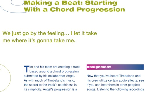 A picture of Timbaland's MasterClass workbook