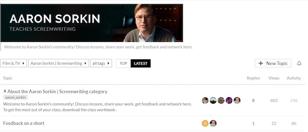 Aaron Sorkin MasterClass community hub