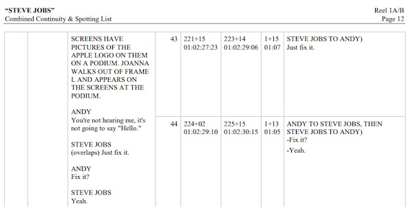 Steve Jobs' film notes