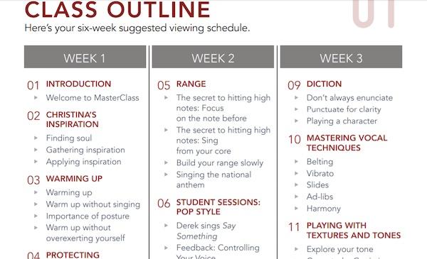 Christina Aguilera's MasterClass outline