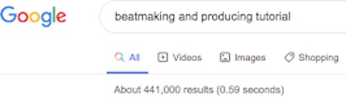 Google results for 'producing and beatmaking'