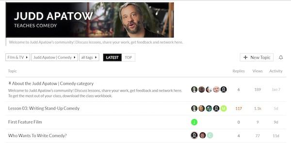 Judd Apatow MasterClass community board