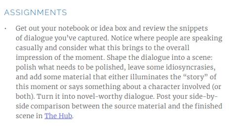 An assignment from Judy Blume's MasterClass