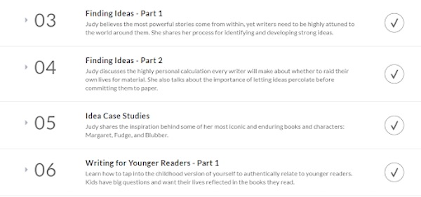 Judy Blume's MasterClass lesson overview