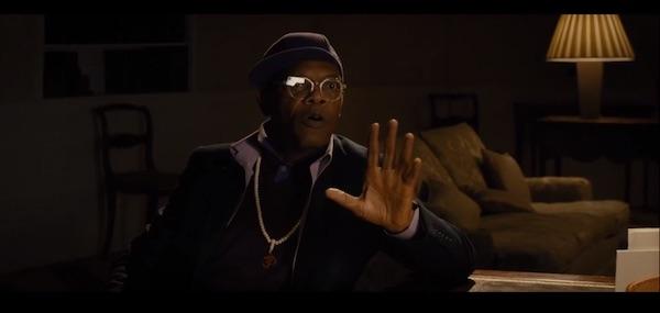 Samuel L Jackson in a scene from Kingsman