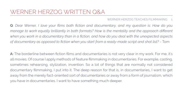 Werner Herzog written Q&A