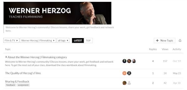 Wener Herzog's MasterClass community