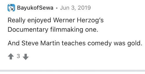 A review comment of Werner Herzog's MasterClass