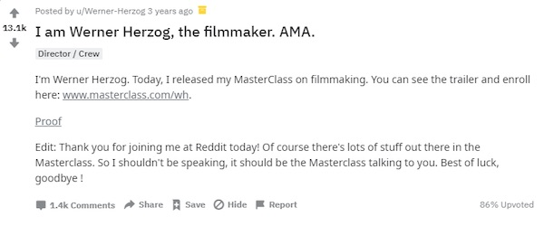 Werner Herzog on Reddit