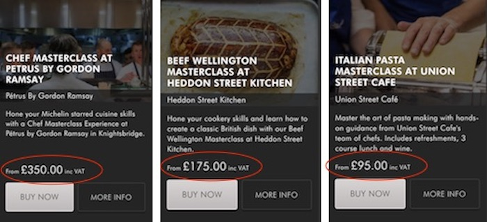 Gordon Ramsay course prices
