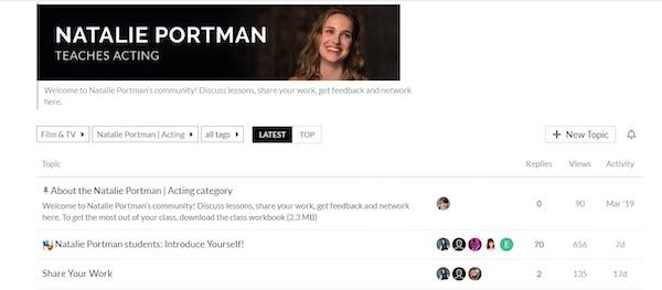 Natalie Portman's MasterClass community