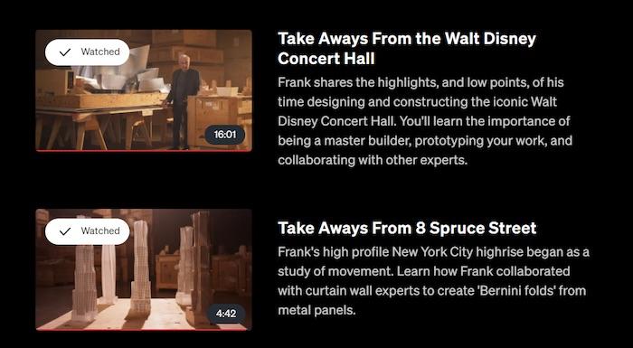Frank Gehry's MasterClass lesson sneak peak