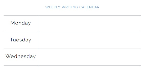 James Patterson's weekly writing calendar