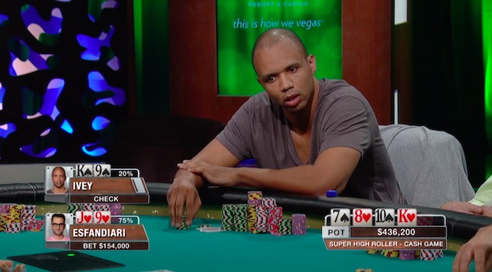 Phil Ivey completing a hand review on when to fold