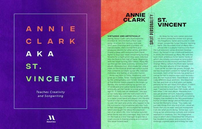 A snippet from Annie Clark's MasterClass workbook