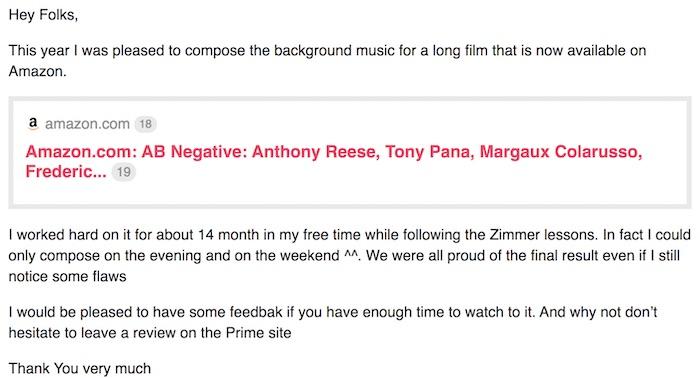 Hans Zimmer MasterClass community comment