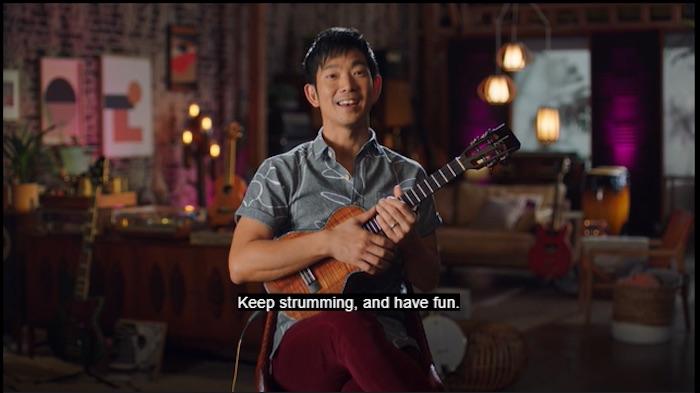 Jake Shimabukuro playing his 'Ukulele in his MasterClass