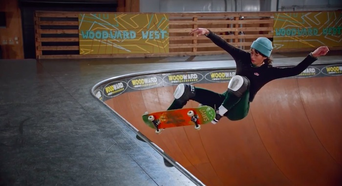 Lizzie Armanto ollieing on a ramp