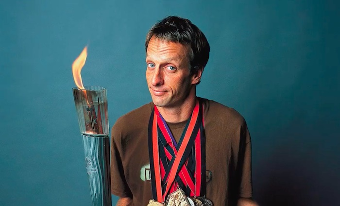 Tony Hawk carrying an Olympic torch