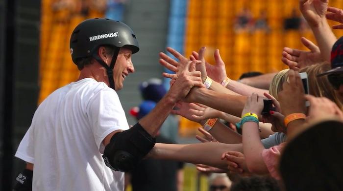 Tony Hawk greeting fans