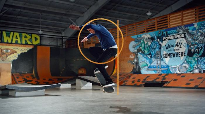 Tony Hawk performing a frontside 180 ollie in his MasterClass