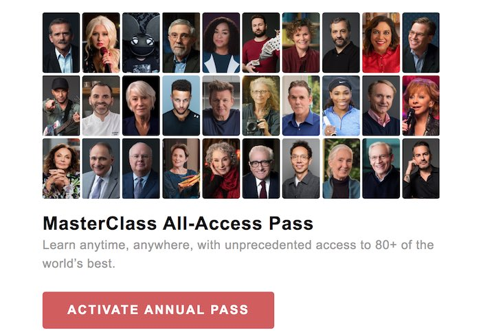 MasterClass gift code activation
