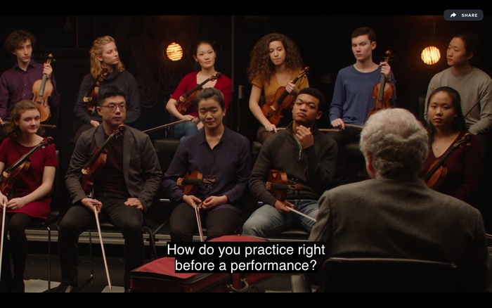 Itzhak Perlman sharing practice tips