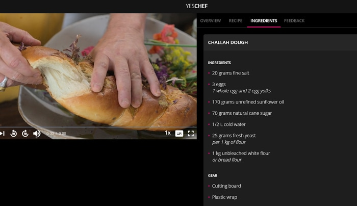 YesChef cooking lesson