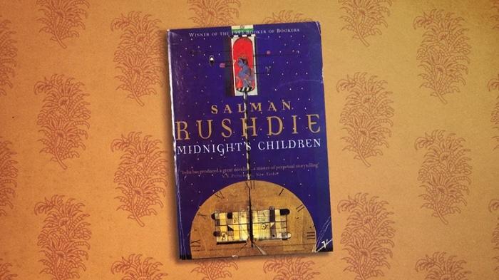 A copy of a Salman Rushdie book
