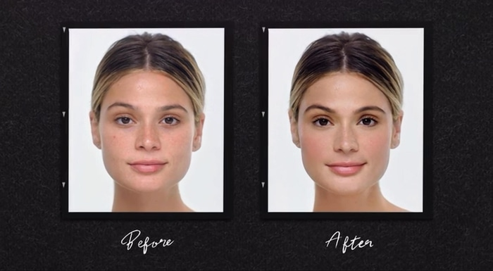 Natural makeup before and after