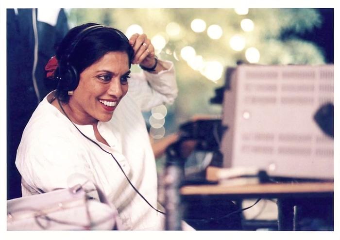 Mira Nair working on set