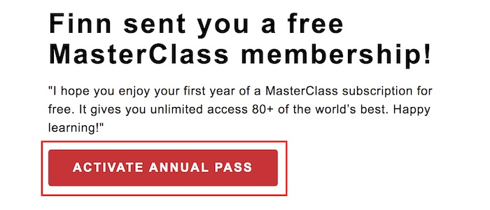 Redeeming MasterClass buy one get one offer