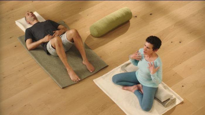 Donna Farhi teaching breath work in yoga