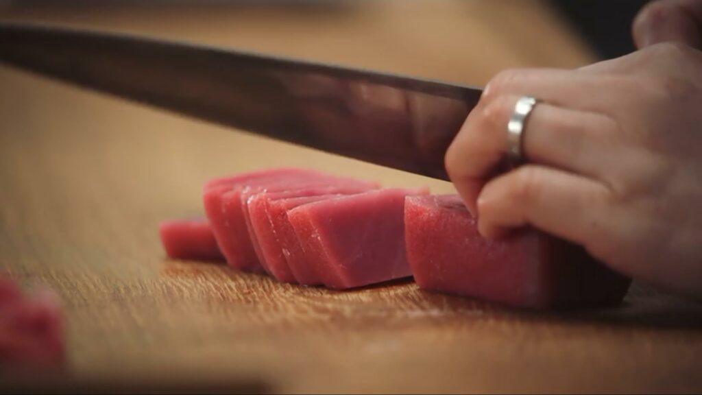 Niki Nakayama preparing tuna