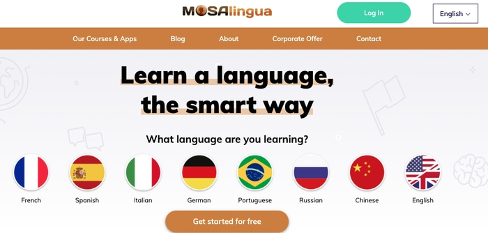 MosaLingua Welcome Screen