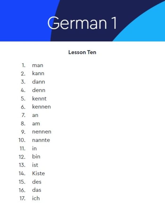 Pimsleur German lesson